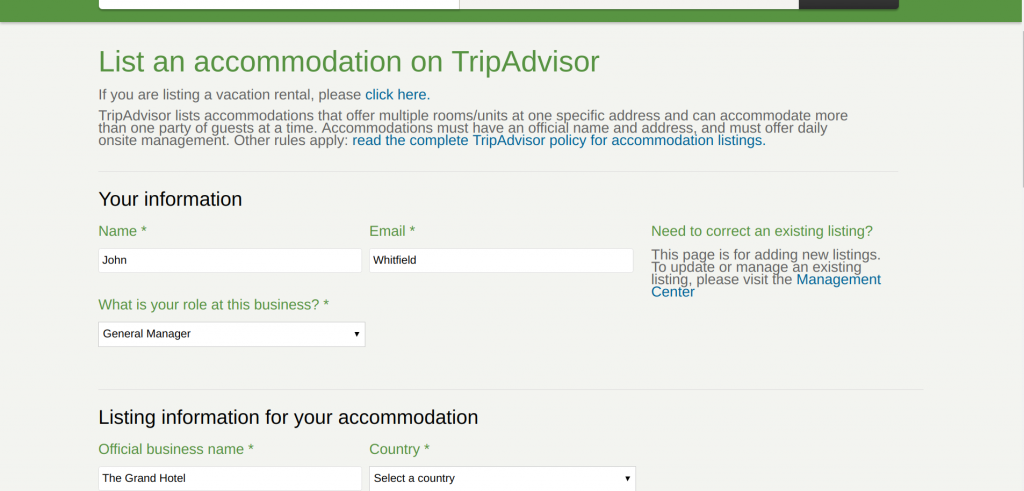 List Accommodation on TripAdvisor
