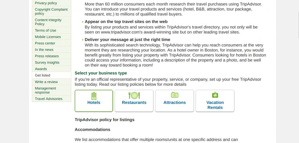 Register on TripAdvisor