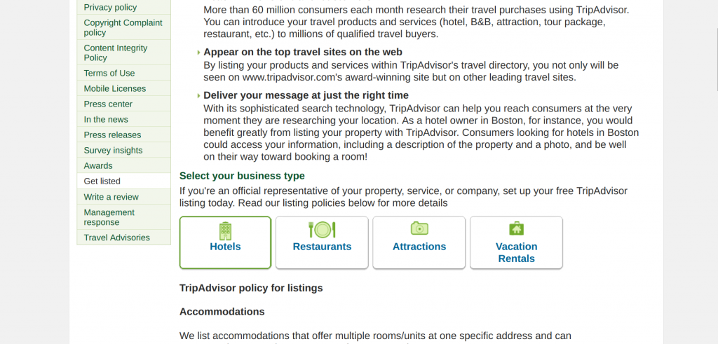 listing page given out by tripadvisor for business