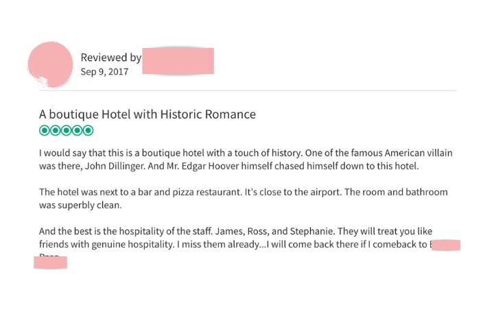 Hotel Review Screenshot