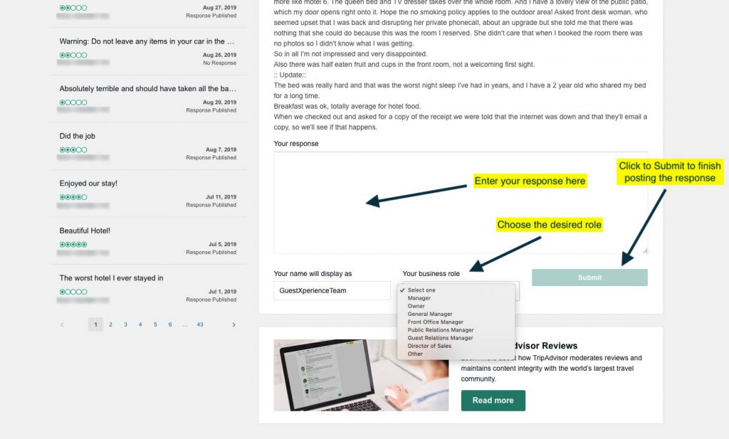 Tripadvisor Review Response Step 6