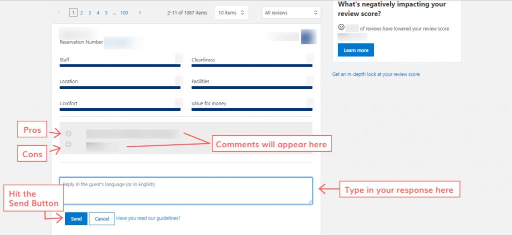 respond to the reviews on Booking.com step 10