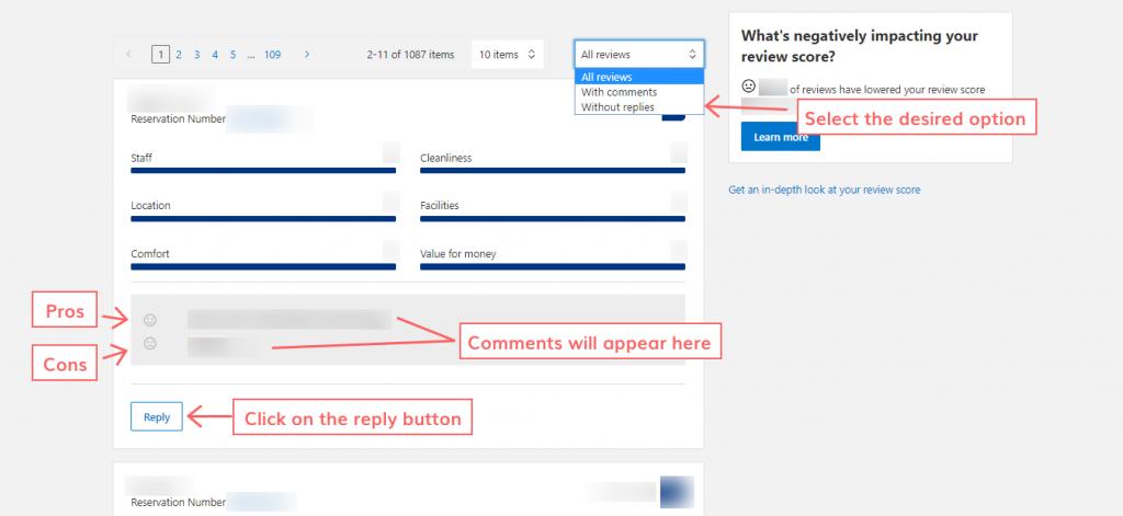 respond to the reviews on Booking.com step 8