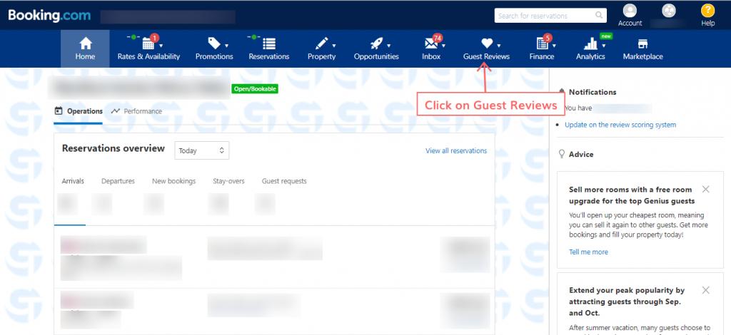 respond to the reviews on Booking.com step 5