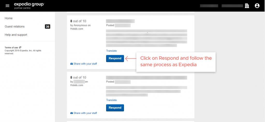 respond to the reviews on Hotels.com step 2