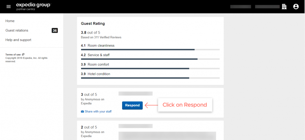 respond to the reviews on Expedia step 5