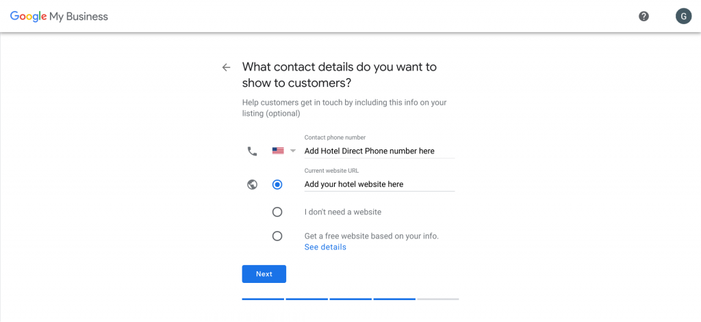 Add Google Business Contact Details