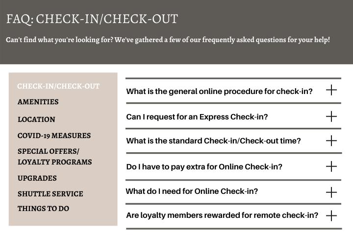 hotel online check-in system FAQ regarding Online Check-in