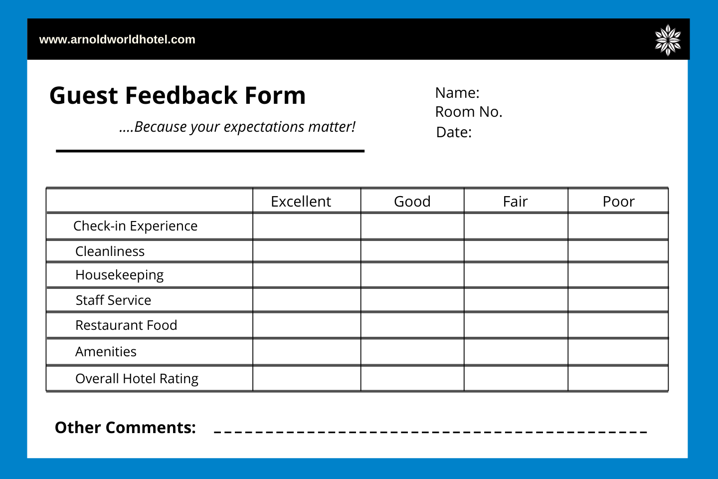 guest feedback form for hotels